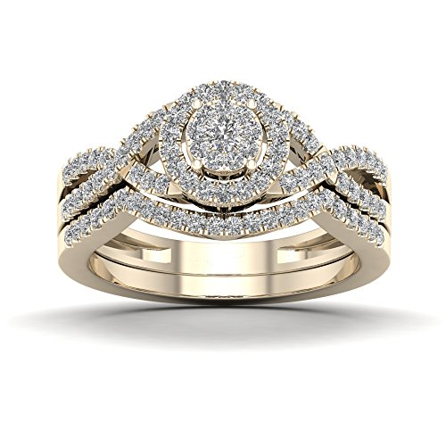 Tdw Wedding Ring Set (De Couer 10K Yellow Gold 1/2ct TDW Diamond Cluster Halo Twist Shank Bridal Set (I-J, I2))
