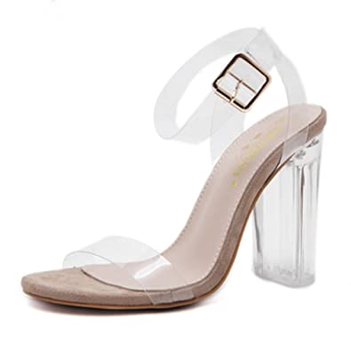 1ad75c1b1cc Amazon.com | GIY Women's Clear Strap Chunky High Heel Sandals Open ...