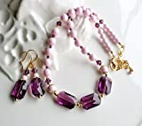 Pink Purple Swarovski Crystal Pearl Statement Necklace Earrings Set