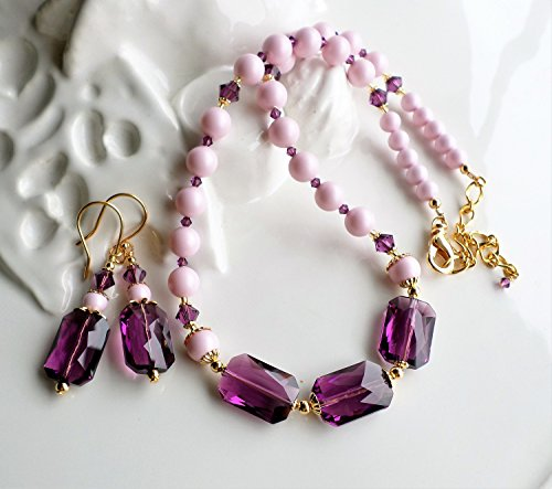 Pink Purple Swarovski Crystal Pearl Statement Necklace Earrings Set by H&H Jewelry Designs