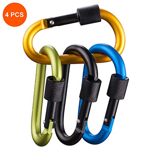 - 4 Pack Aluminum Carabiners with Lock D Shape Keychain Clips with 110 Lbs Load Capacity Durable Screw Gate Climbing Hooks for Outdoor Camping Fishing Hiking Traveling, 3.15 inch