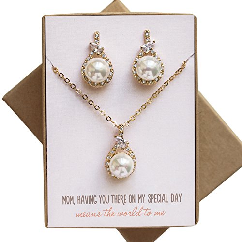 Wedding gift, Mother of the Bride / Groom Pearl Jewelry Set in Gold, Silver or Rose Gold