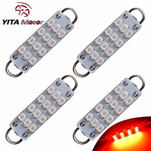 "YITAMOTOR 4 X Festoon 44mm 12-SMD 3528 Rigid Loop 1.73"" Red LED Light Bulbs 561 562 567"
