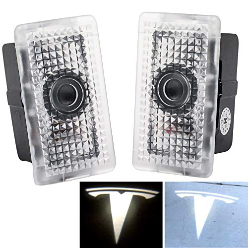 Tesla Model 3 Ultra-Bright LED Puddle Door Lights Car Logo Projector Door Step Light for Tesla Model 3 Model S Model X (pair)
