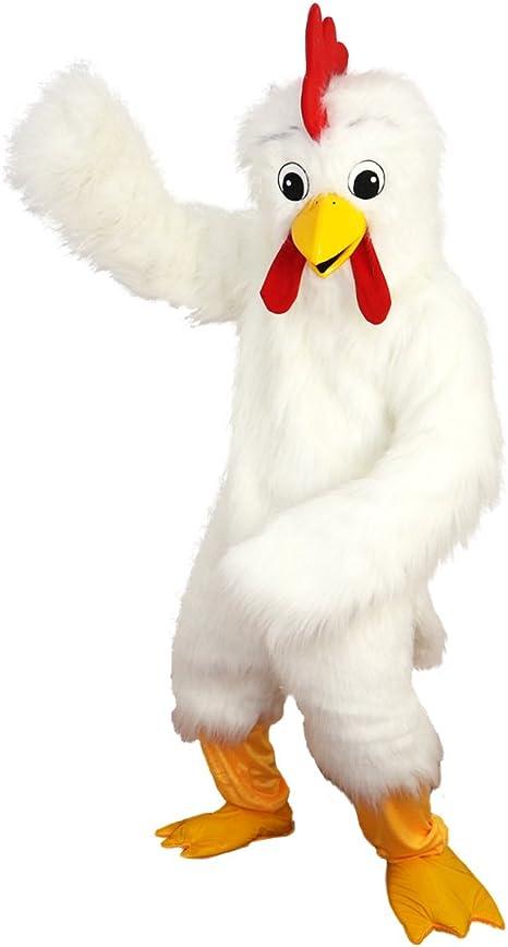 H blanco lista de gallo Cartoon mascota disfraz Real imagen 15 ...