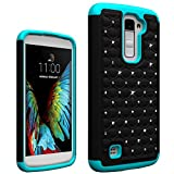 LG K10 Case, Berry Accessory(TM) Studded Rhinestone Crystal Bling Hybrid Armor Case Cover for LG K10 With Free Berry logo stand holder (Black / Blue)