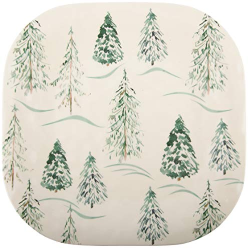 Melange 608410092006 6 -Piece 100% Melamine Dinner Plates Christmas Collection-Wild Xmas Trees Shatter-Proof and Chip-Resistant|, 10.5