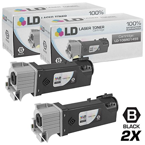 LD Compatible Toner Cartridge Replacement for Xerox Phaser 6128 106R1455 (Black, 2-Pack)