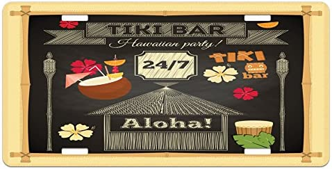 High Gloss Aluminum Novelty Plate Ambesonne Hawaii License Plate 5.88 X 11.88 Traditional Tiki Bar Poster Design with Coconut Drink and Aloha Slogan Bamboo Frame Multicolor