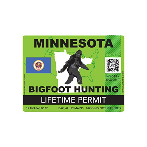 Minnesota Bigfoot Hunting Permit Sticker Die Cut Decal Sasquatch Lifetime FA Vinyl