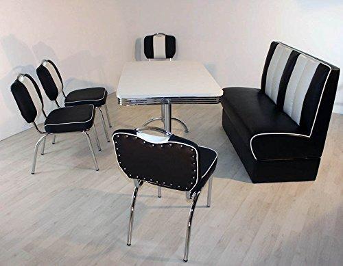 Bank-Sitzgruppe American Diner Paul King4 6tlg in schwarz weiß