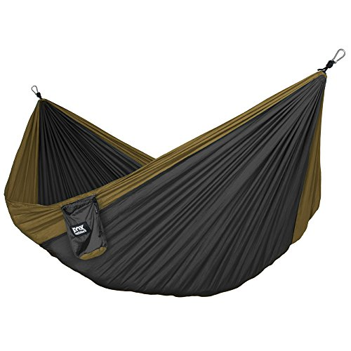 Fox Outfitters Neolite Double Camping Hammock - Lightweight Portable Nylon Parachute Hammock for Backpacking, Travel, Beach, Yard. Hammock Straps & Steel Carabiners Included