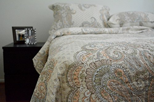 Tache 3 Piece 100% Cotton French Paisley Golden Garden Reversible Bedspread Quilt Set, Queen