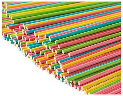 Cake Pop Sticks – 300-Count Paper Sticks for Lollipops, Candy Apples, Sucker Sticks for Valentine's Day, Birthday Party Favors, Candy Dessert Treat Goodie Bags, 4 Colors, Green, Yellow, Pink, Blue