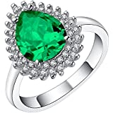 18K White Gold Filled Gemstone Silver Wedding Band Engagement Ring Jewelry Gift ERAWAN (9 #, Green)