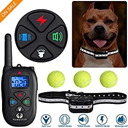 wangstar Dog Training Collar with Remote One-Button Fast Switching Mode 2019 Upgraded Easy Operation Waterproof Rechargeable Beep Shock for Small Medium Large Reflective Tape Dogs Collar with Tennis