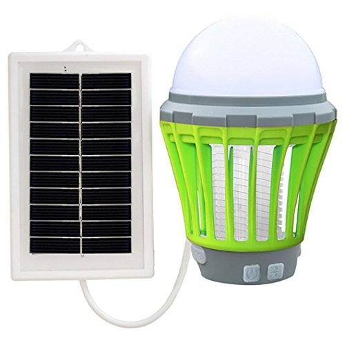 Stheanoo Solar Mosquito Zapper Electric Fly Bug Killer Insect Pest Mosquito Trap Killer Light UV LED Night Lamp for Outdoor Travel Camping (Green) by Stheanoo Zapper