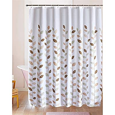 LanMeng Fabric Shower Curtain, Leaves, White, Elegance Luxury for Bathroom, Waterproof and Mildewproof (72-by-72 inches, 20) -  - shower-curtains, bathroom-linens, bathroom - 515hLdyVwTL. SS400  -