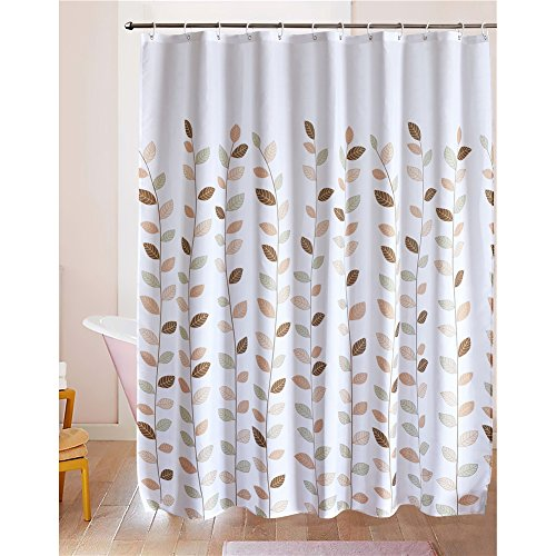 515hLdyVwTL - LanMeng Fabric Shower Curtain, Leaves, White, Elegance Luxury for Bathroom, Waterproof and Mildewproof (72-by-72 inches, 20)