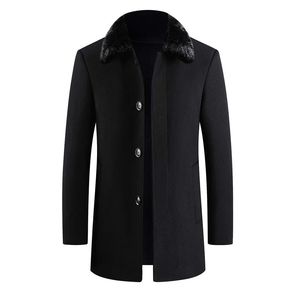 Fitfulvan Men's Fashion Business Trench Tops Cardigan Long Solid Color Slim Fur Collar Coat Black by Fitfulvan Men's Coat