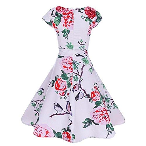 e194673e14281c ... Floral damen Elegantes Kleid Rockabilly Damen Cocktail Retro Kleider  Blumen Swing Abendkleid Abendkleider Ärmellos Weiß Bedruckt ...