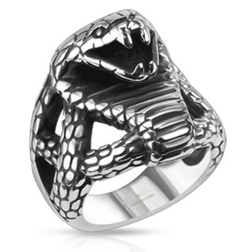 STR-0170 Stainless Steel Fierce Cobra Wide Cast Ring (9) (Cobra Ring)