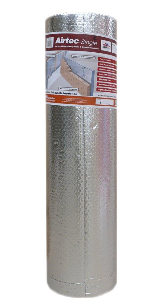Airtec Film isolant simple multicouche à bulles 1 050 mm x 25 m x 3, 7 mm YBS Insulation Airtec Single 1050mm x 25m x 3.7mm