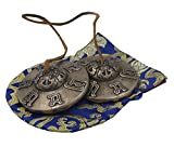 DharmaObjects Large Tibetan Premium Quality ''Om Mani Padme Hum'' Tingsha Cymbals 3'' With Pouch