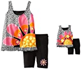 Dollie & Me Girls Sleeveless Placement Top Over Solid Bike Shorts And Matching Doll Garment, Orange/Black/White, 5 image