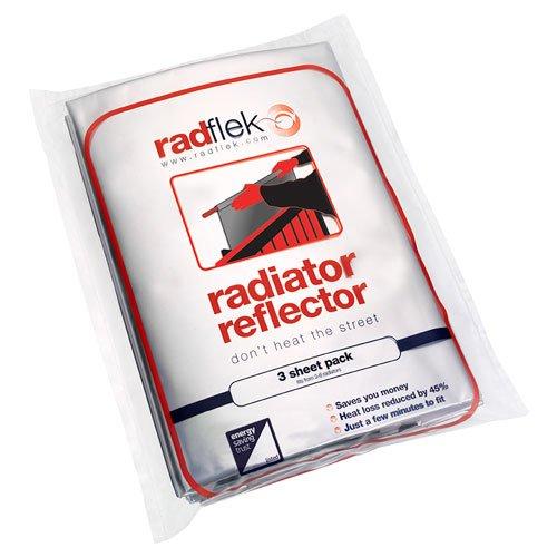 Radflek Ré flecteur de chaleur avec 3 feuilles Radstik + 2 bandes adhé sives Radstik pour radiateur Radflek Radflek 3-Pack