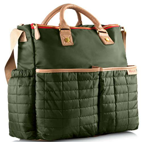 Diaper Bag- by Maman - with Matching Changing Pad - Stylish Designer Tote for Moms - for Baby Boys and Girls - PATENT PENDING (Green) (Changing Pad Denim)