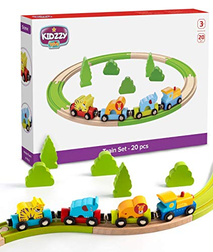 Wooden Railway Beginner Pack Train Set with Magnetic Zoo Carrier Train Cars - 20 Pieces ()