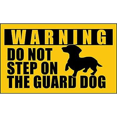 American Vinyl Dachshund Do Not Step on The Guard Dog Sticker (dach weener Weiner): Automotive