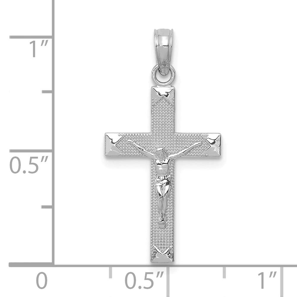 FB Jewels 14K White Gold Crucifix On Textured Back with High Polish Beveled Tips Pendant