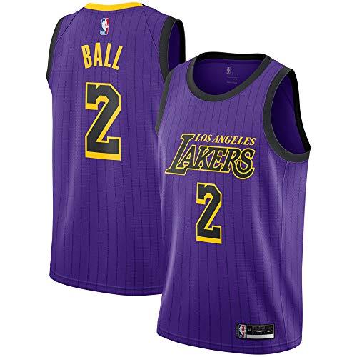 Alternate Stripe - Lonzo Ball Los Angeles Lakers #2 Youth Purple Stripe Alternate Swingman Jersey (Medium 10/12)