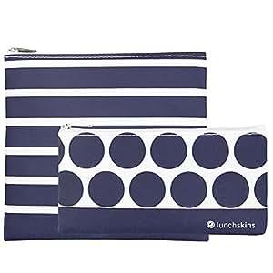 Lunchskins 2 Pack Zip Bag Set (1 Navy Stripe Sandwich + 1 Navy Dot Snack)