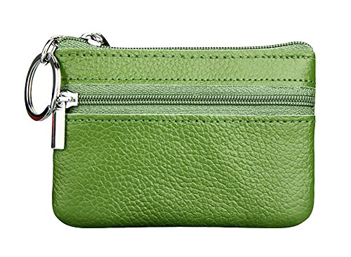 Leather Purse Zip Coin - ETIAL Womens Genuine Leather Zip Mini Coin Purse w/Key Ring Green