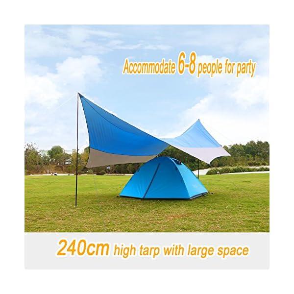 515hNf4LZjL OVERMONT 5m x 5m Sonnensegel Camping Plane wasserdichte Zeltplane Sonnenschutz Sun Shelter Außenzelt mit Zeltheringen…