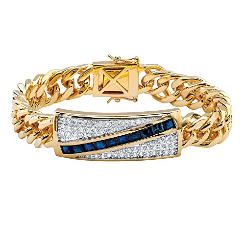 Blue Sapphire Square Bracelet (Genuine Midnight Blue Sapphire and CZ 14k Gold-Plated Diagonal Curb-Link Bracelet 8