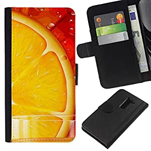 LG G2 D800 D802 D802TA D803 VS980 LS980 , la tarjeta de Crédito Slots PU Funda de cuero Monedero caso cubierta de piel ( Orange Juice Fresh Fruit Food Healthy Red)