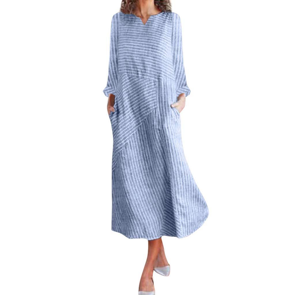 Xmiral Dress Women Striped Patchwork Mid-Calf Dress Sleeveless/Long Sleeve A-line Cocktail Party Dress