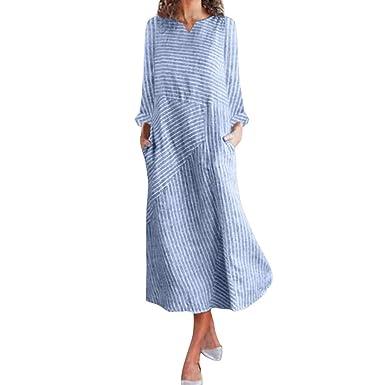 4567a55e7b8e Lulupi Ärmelloses Gestreiftes Midikleid Leinenkleid Damen Damen Große  Größen, Sommer Maxikleid Casual Beach Dress
