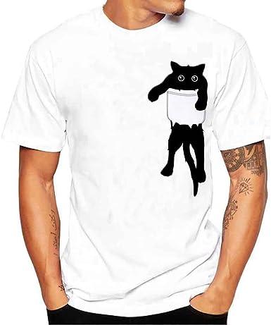 Image ofCamisetas Hombre Lanskirt Camisas de Manga Corta con Cuello Redondo y Estampado Smiley Tops de Verano Elegante Polos de BáSica Camiseta para Hombres Diario 3XL