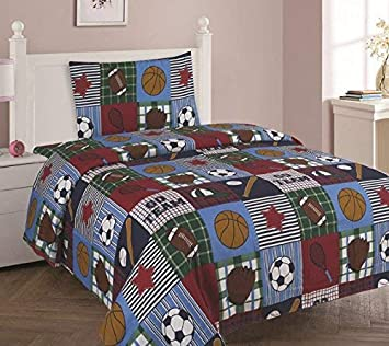 DiamondHome Boys Bedroom Decor Rugby Design (Twin Sheet 3pc Set)