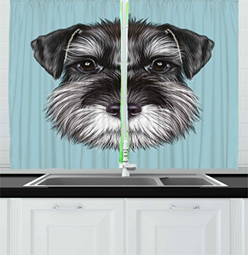 Ambesonne Animal Kitchen Curtains, Illustration of a Cute Baby Schnauzer on Blue Background Puppy Portrait, Window Drapes 2 Panels Set for Kitchen Cafe, 55W X 39L inches, Light Blue Black White