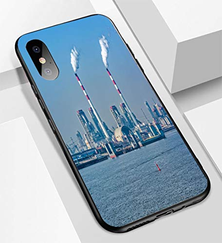 iPhone X/XS Ultra-Thin Glass Back Phone case,Coal Fired Power Station Soft and Easy to Protect The Protective case ()