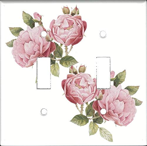(Double Toggle (2-toggle) Light Switch Plate Cover - Light Pink Roses - Flowers Plants)