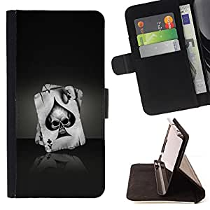 Ace Of Spades Skull - Painting Art Smile Face Style Design PU Leather Flip Stand Case Cover FOR Sony Xperia Z1 Compact D5503 @ The Smurfs