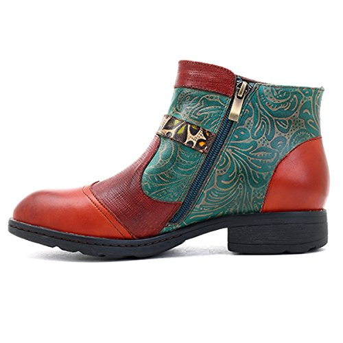 Socofy Läder Fotled Toffeln, Kvinna Vintage Handgjorda Platt Läderstövlar Retro Stövletter Höga De Oxford Skor, Spänne Mönster Röd Växt Mönster