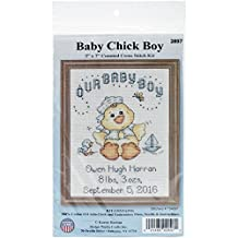 """Tobin 14 Count Our Baby Boy Chick Birth Record Mini Counted Cross Stitch Ki, 5"""" by 7"""""""